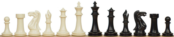 Stately Knight Chess Set - Ivory and Black